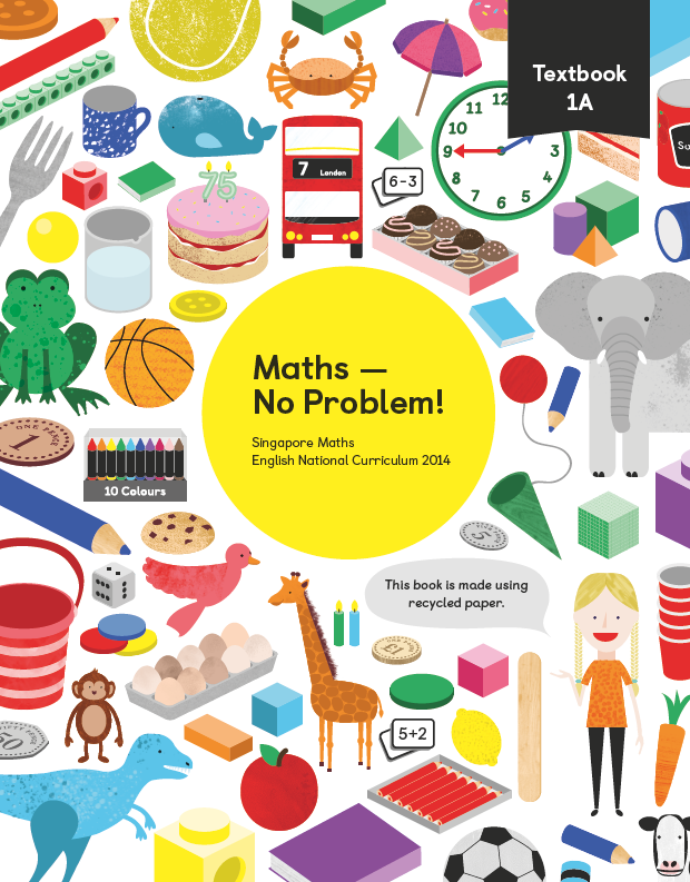 Maths mastery Textbook 1A showing characters and illustrations and text reading Singapore Maths English National Curriculum 2014